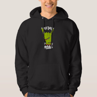 zombie hand metal inside hoodie