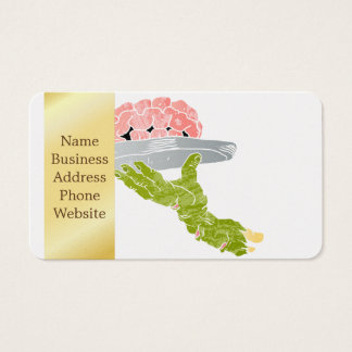 zombie hand serving brain business card