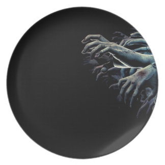 Zombie hands dinner plate