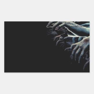 Zombie hands rectangular sticker