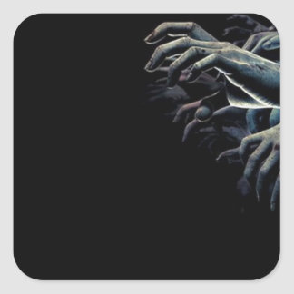 Zombie hands square sticker