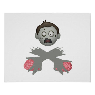 Zombie Head Crossed Arms & Brains Posters