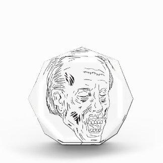Zombie Head Eyes Closed Drawing Acrylic Award