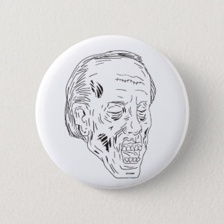Zombie Head Eyes Closed Drawing Pinback Button