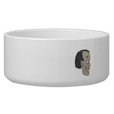 Halloween Themed Zombie Head Side Drawing Bowl