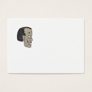 Zombie Head Side Drawing Business Card