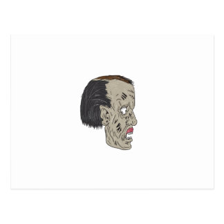 Zombie Head Side Drawing Postcard