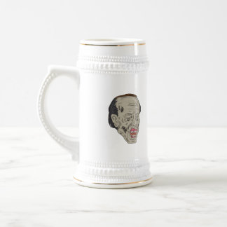 Zombie Head Three Quarter View Drawing Beer Stein