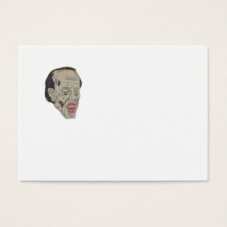 Zombie Head Three Quarter View Drawing Business Card