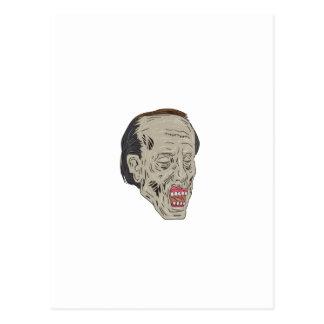 Zombie Head Three Quarter View Drawing Postcard