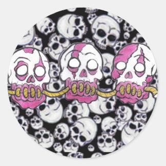 Zombie Heads Drawn Together Classic Round Sticker