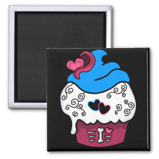 Zombie Heart Cupcake 2 Inch Square Magnet