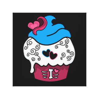 Zombie Heart Cupcake Canvas Print