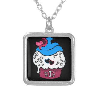 Zombie Heart Cupcake Square Pendant Necklace