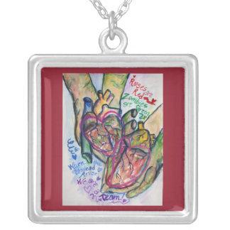 Zombie Hearts Love Poem Jewelry Pendant Necklace