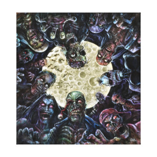 Zombie horde attack stretched canvas prints
