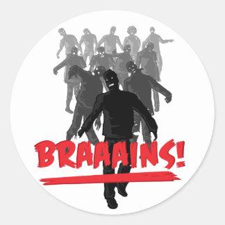 Zombie Horde Brains Classic Round Sticker