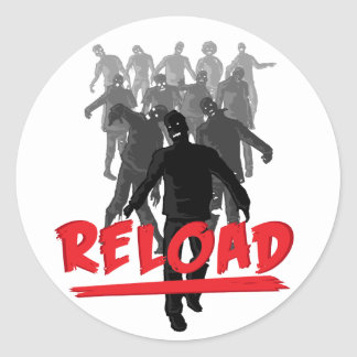 Zombie Horde Reload Classic Round Sticker