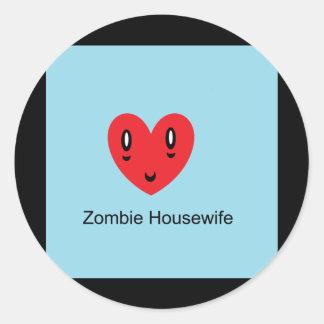 Zombie Housewife Round Stickers