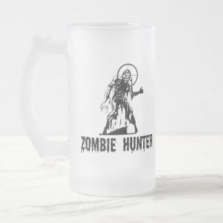 Zombie Hunter 16 Oz Frosted Glass Beer Mug