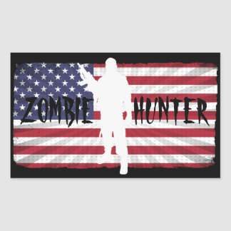 ZOMBIE HUNTER AMERICAN FLAG RECTANGULAR STICKER