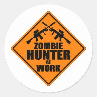 Zombie Hunter At Work Classic Round Sticker