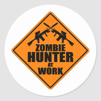 Zombie Hunter At Work Stickers