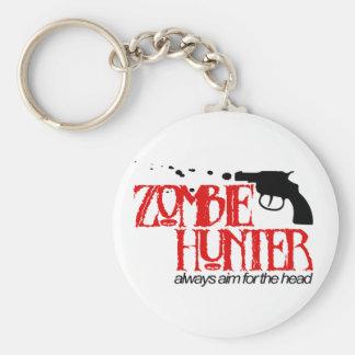 Zombie Hunter Basic Round Button Keychain