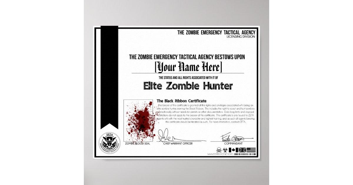 Zombie hunter certificate zeta poster zazzle yadclub Choice Image