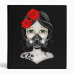 Zombie Hunter Girl with Gas Mask on Black Binder