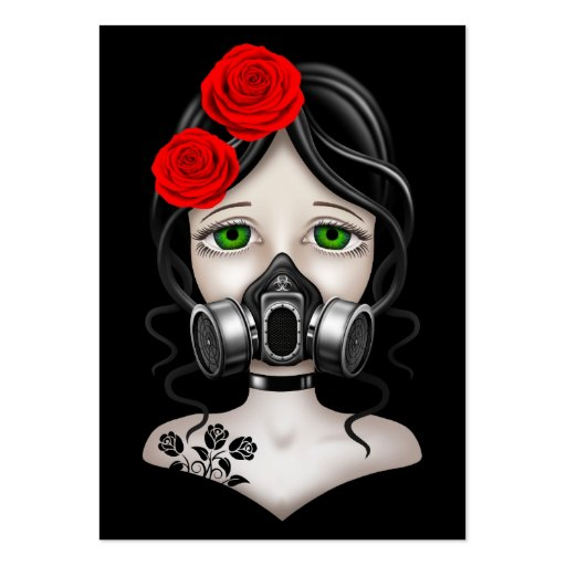 Zombie Hunter Girl with Gas Mask on Black Business Card Template