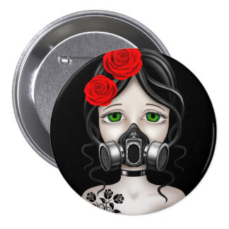 Zombie Hunter Girl with Gas Mask on Black Buttons