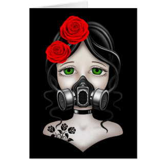 Zombie Hunter Girl with Gas Mask on Black Cards