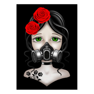Zombie Hunter Girl with Gas Mask on Black Large Business Cards (Pack Of 100)