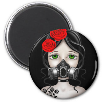 Zombie Hunter Girl with Gas Mask on Black Fridge Magnets