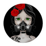 Zombie Hunter Girl with Gas Mask on Black Poker Chips