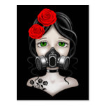Zombie Hunter Girl with Gas Mask on Black Postcard