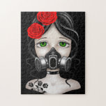 Zombie Hunter Girl with Gas Mask on Black Jigsaw Puzzles