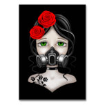 Zombie Hunter Girl with Gas Mask on Black Table Card