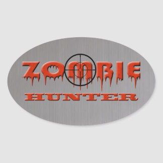 Zombie Hunter Oval Stickers