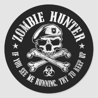 zombie hunter undead living dead classic round sticker