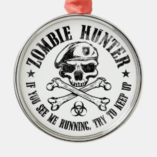 zombie hunter undead living dead metal ornament