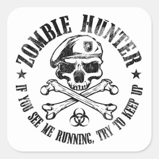 zombie hunter undead living dead square stickers