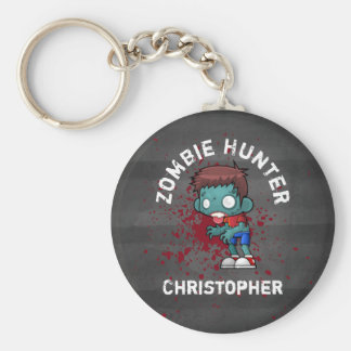 Zombie Hunter with Blood Splatter Creepy Cool Keychain