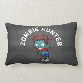 Zombie Hunter with Blood Splatter Creepy Cool Lumbar Pillow