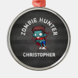 Zombie Hunter with Blood Splatter Creepy Cool Metal Ornament