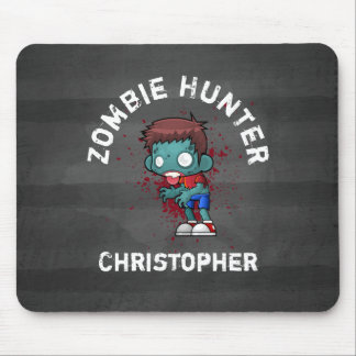 Zombie Hunter with Blood Splatter Creepy Cool Mouse Pad