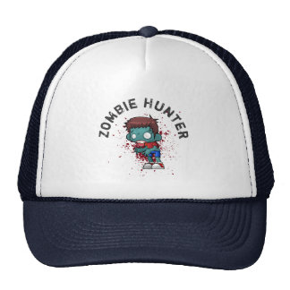 Zombie Hunter with Blood Splatter Creepy Cool Trucker Hat
