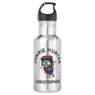 Zombie Hunter with Blood Splatter Creepy Cool Water Bottle