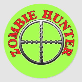 Zombie Hunter with Crosshairs Classic Round Sticker